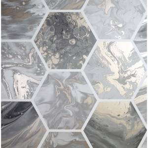 Arthouse Marbled Hex Charcoal Rose Gold Wallpaper