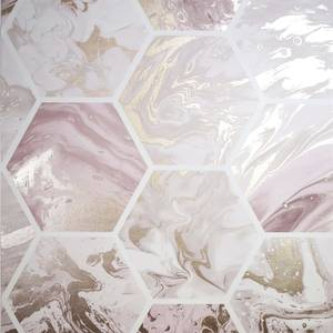 Arthouse Marbled Hex Pink Rose Gold Wallpaper