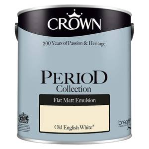 Crown Period Collection Old English White Flat Matt Paint - 2.5L