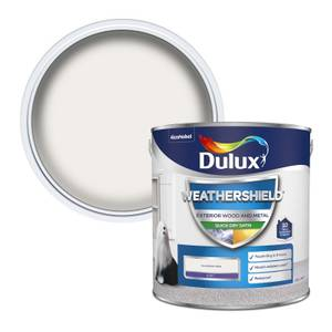 Dulux Weathershield Exterior Quick Dry Satin Paint - Pure Brilliant White - 2.5L