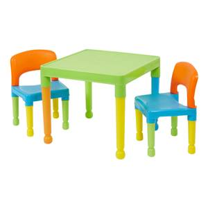 Multicoloured Plastic Table and 2 Chairs