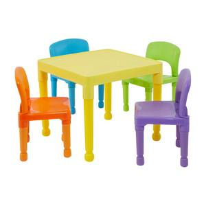 Multicoloured Plastic Table and 4 Chairs