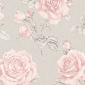 Belgravia Decor Rosa Smooth Floral Blush and Grey Wallpaper