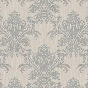 Belgravia Decor Sofia Damask Hessian Textured Vinyl Metallic Silver Wallpaper