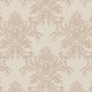 Belgravia Decor Sofia Damask Textured Vinyl Metallic Rose Gold and Cream Wallpaper