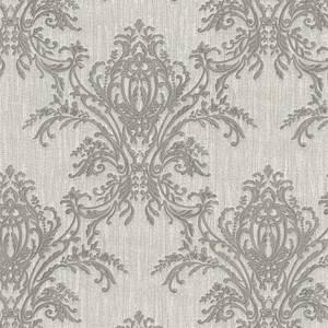 Belgravia Decor Sofia Damask Textured Vinyl Metallic Silver and Grey Wallpaper