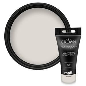 Crown Breatheasy Snowfall - Matt Emulsion Paint - 40ml Tester