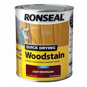 Ronseal Quick Drying Woodstain Satin Deep Mahogany - 750ml