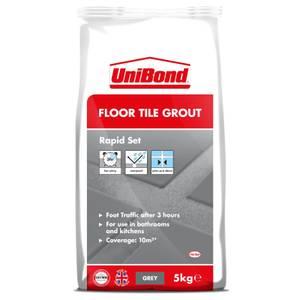 UniBond Rapid Set Floor Tile Grout - 5kg - Grey