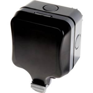 BG 13 Amp 1 Gang Switched Weatherproof Socket IP66 Rated Grey/Black