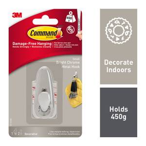 Command Small Forever Classic Bright Chrome Metal Hook