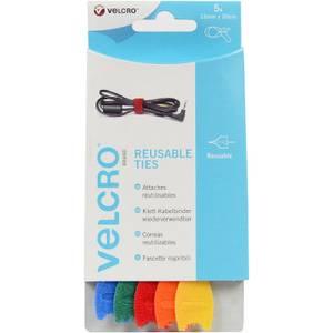 VELCRO? Brand ONE-WRAP? Reusable Ties 1.2 x 20cm - 5 pack - Multi Colour