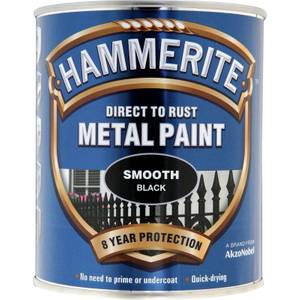 Hammerite Direct To Rust Smooth Black Metal Paint - 750ml