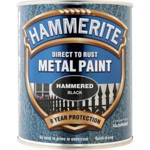 Hammerite Direct To Rust Hammered Black Metal Paint - 750ml