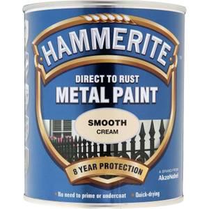 Hammerite Direct To Rust Smooth Cream Metal Paint - 750ml