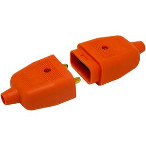 Masterplug Heavy Duty 2 Pin Flex Plug and Socket Connector Orange
