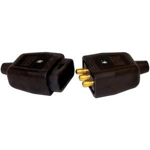 Masterplug Heavy Duty 3 Pin Flex Plug and Socket Connector Black