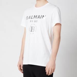 Balmain Men's Silver Foil T-Shirt - White