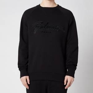 Balmain Men's Bi Colour Flock Sweatshirt - Black
