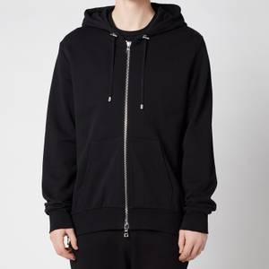 Balmain Men's Zipped Printed Hoodie - Black
