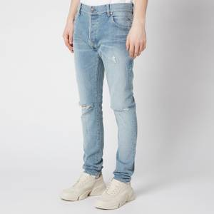 Balmain Men's Embroidered Distressed Slim Jeans - Blue