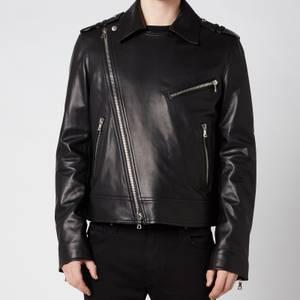 Balmain Men's Leather Biker Jacket - Black
