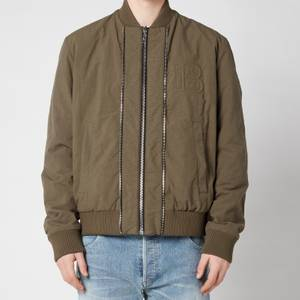Balmain Men's Embossed Reversible Bomber Jacket - Khaki