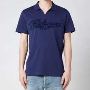 Balmain Men's Bi Colour Flock Polo Shirt - Blue