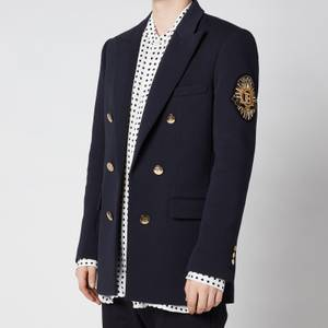 Balmain Men's Six Button Jersey Badge Blazer - Marine