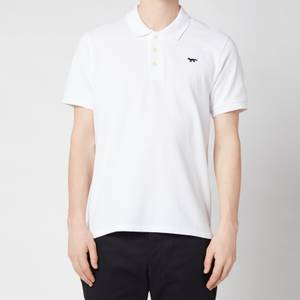 Maison Kitsuné Men's Navy Fox Patch Polo Shirt - White