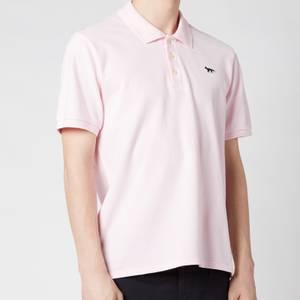 Maison Kitsuné Men's Navy Fox Patch Polo Shirt - Light Pink