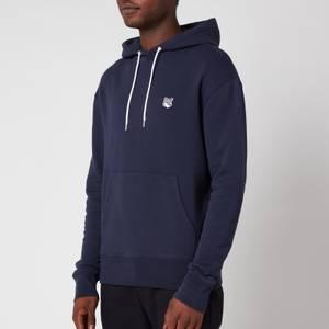 Maison Kitsuné Men's Grey Fox Patch Classic Hooded Sweatshirt - Navy