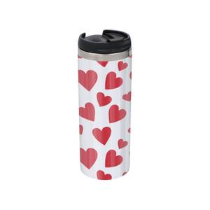 Hearts Stainless Steel Thermo Travel Mug - Metallic Finish
