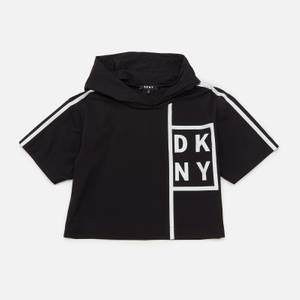 DKNY Girls' Striped Hooded Logo Top - Black