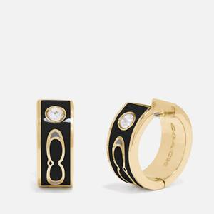 Coach Women's Enamel Kissing C Huggie - Gold/Black