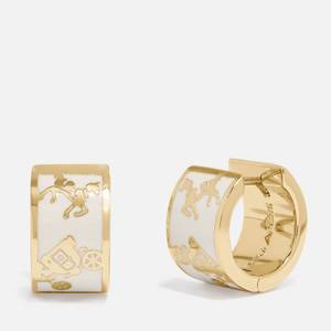 Coach Women's Horse and Carriage Enamel Inlay Huggie - Gold/Chalk