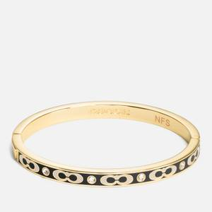 Coach Women's Sig C Stone Hinged Bangle - Gold/Black