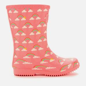 Joules Kids' Roll Up Wellies - Pink Rain Clouds