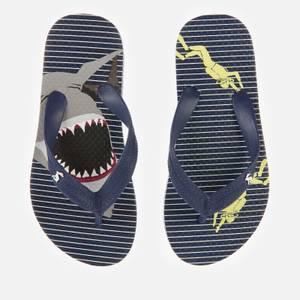 Joules Kids' Flip Flops - Blue Stripe Shark