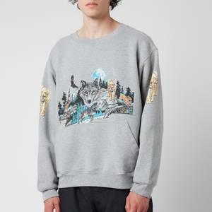 Rhude Men's Wolf In Nature Graphic Sweatshirt - Heather Grey