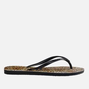 Havaianas Girls' Slim Flip Flops - Black Leopard