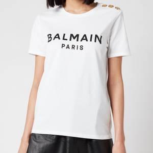 Balmain Women's 3 Button Printed Logo T-Shirt - Blanc/Noir