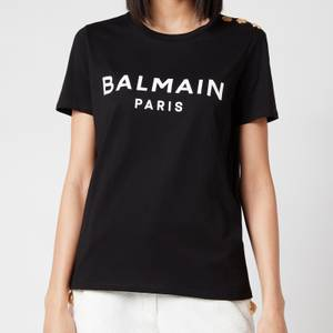 Balmain Women's 3 Button Printed Logo T-Shirt - Black/White