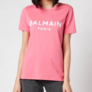 Balmain Women's 3 Button Flocked Logo T-Shirt - Rose/Blanc