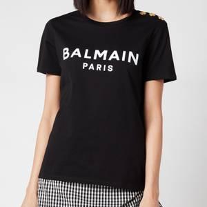 Balmain Women's 3 Button Flocked Logo T-Shirt - Noir/White
