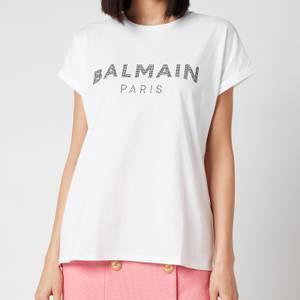 Balmain Women's Strass Logo T-Shirt - Blanc/Noir