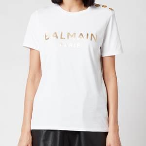 Balmain Women's 3 Button Metallic Logo T-Shirt - Blanc/Or