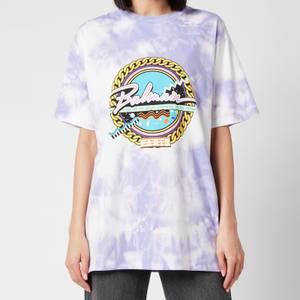 Balmain Women's Oversized Printed Tie Dye T-Shirt - Lavender/Multi