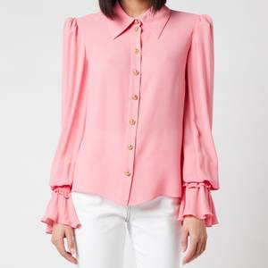 Balmain Women's Georgette Shirt with Smocked Cuffs - Rose
