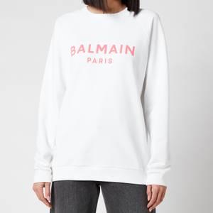 Balmain Women's Printed Logo Sweatshirt - Blanc/Rose